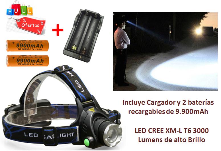 Linterna cabeza LED CREE T lúmen cargador y baterías