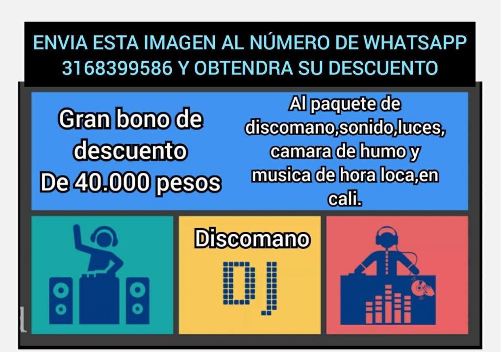 APROVECHE CALI SONIDO DJ DISCOMANO MAQUINA DE HUMO LUCES CON