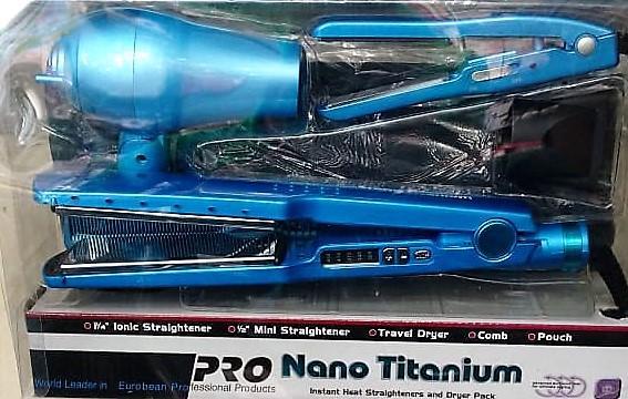 COMBO 4 EN 1 NANO TINANIUM PLANCHA PLANCHA VIAJERA SECADOR