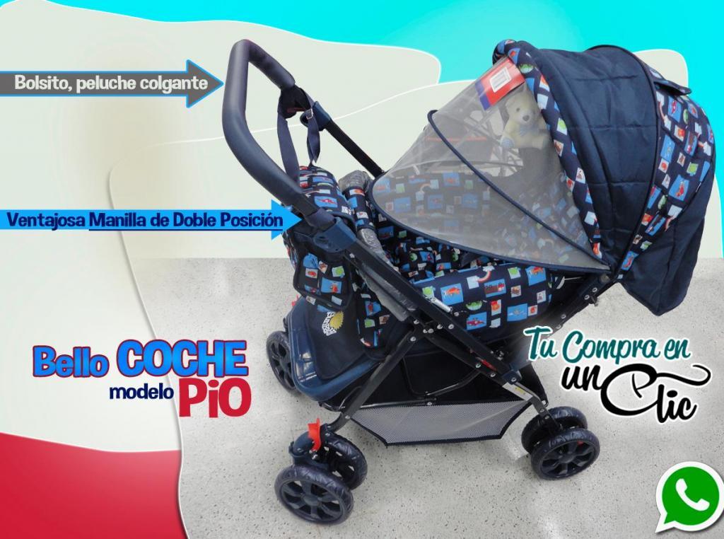 Coche de Bebé Niño con Manilla reversible, bolso y