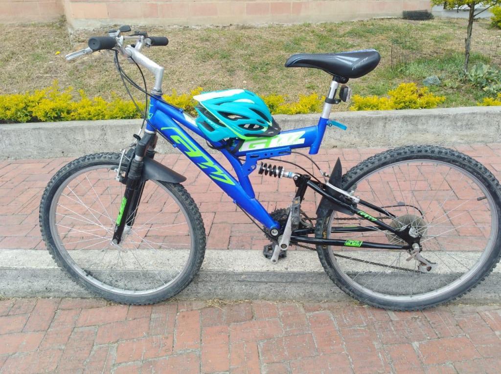 Bicicleta Todo Terreno Doble Suspensión Más Casco GW