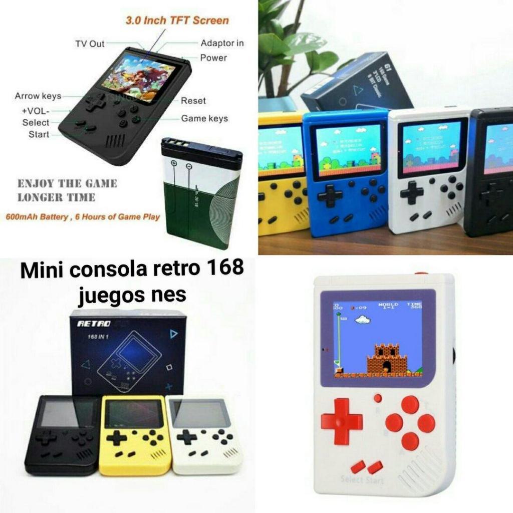 Consola de juegos portatil retro 8 bits game boy 168 juegos