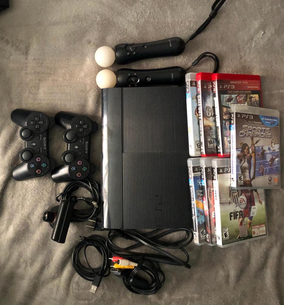Playstation 3 super slim 1 control 7 juegos cámara 2