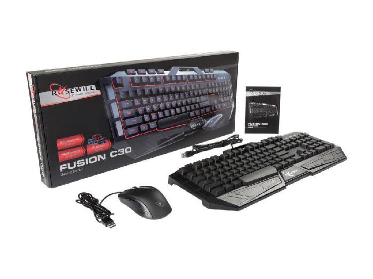Combo teclado mouse USB Rosewill C30 iluminado 3 colores