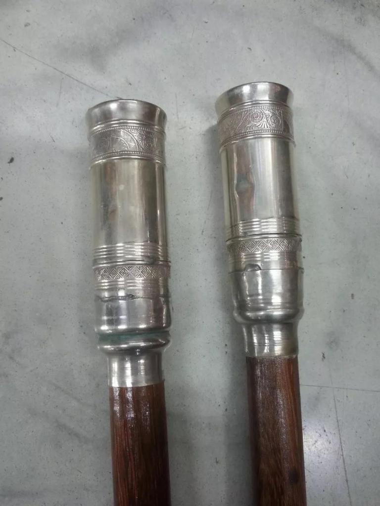 Baston Italiano Antiguo Cedro Bronce Y Plata Precio X C/u