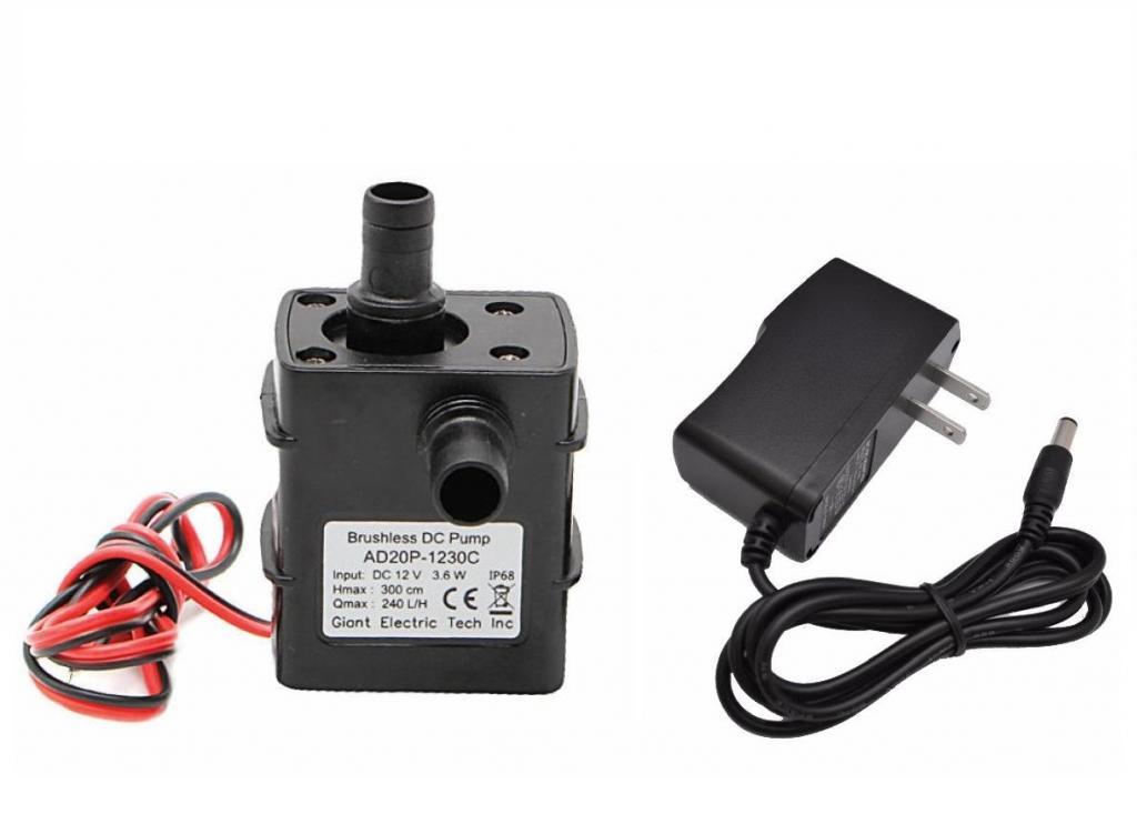 Adaptador 12v y Mini Bomba Sumergible De Agua 12 V 4.2 W