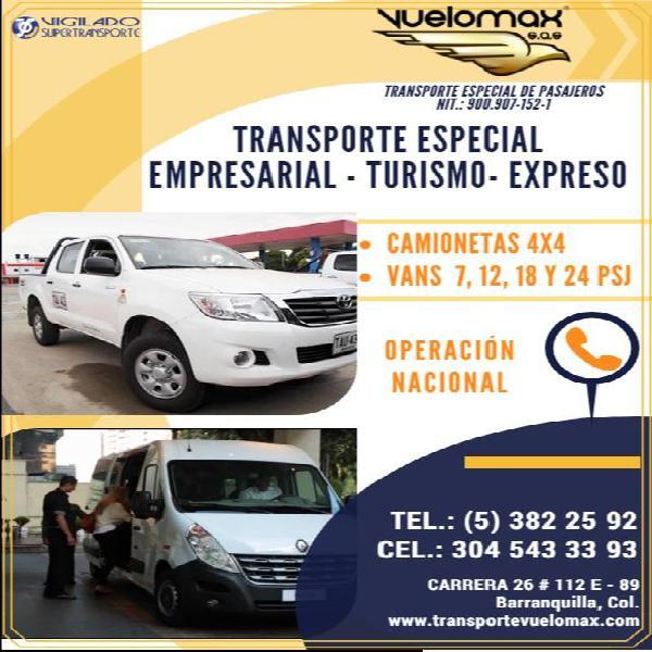 SERVICIO DE VAN TRANSPORTE EMPRESARIAL TURISMO ESPECIAL