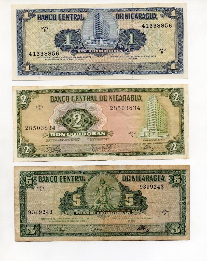 3 billetes de Nicaragua de 1, 2 y 5 córdobas