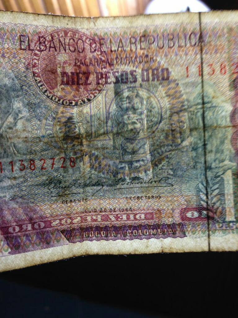 Billete 10 Pesos Año  con Hilo de Seguridad