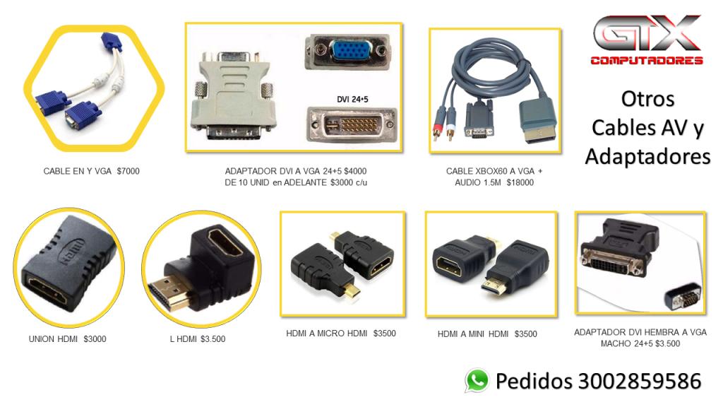 Adaptadores DVI VGA HDMI desde