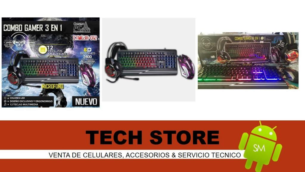 Combo Gamer 3 En 1 JR Monster 3en1 Mouse Teclado Y Diadema