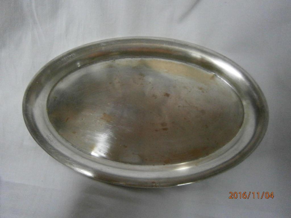 Bandeja ovalada en bronce con b/plata