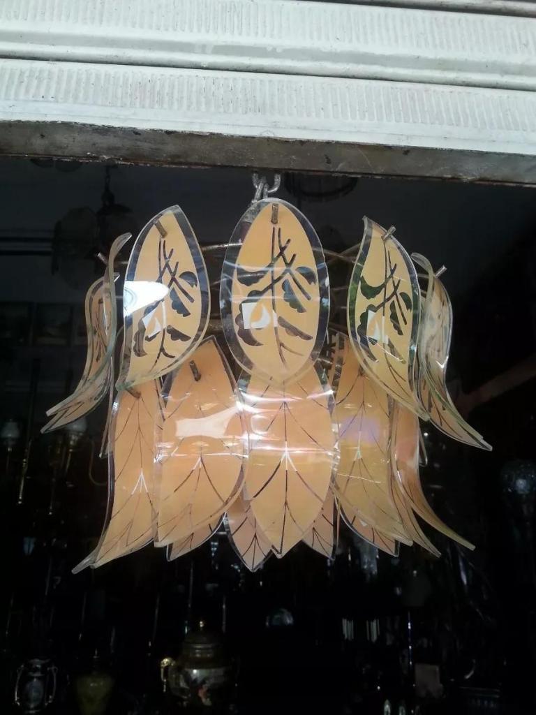 LAMPARA DE TECHO ANTIGUA ITALIANA CON HOJAS EN VIDRIO AL