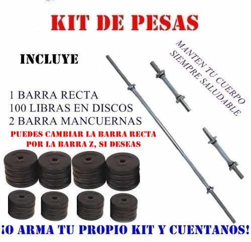 COMPLETO Kit de Pesas Obsequio: 1 Barra Recta, 2 Barra