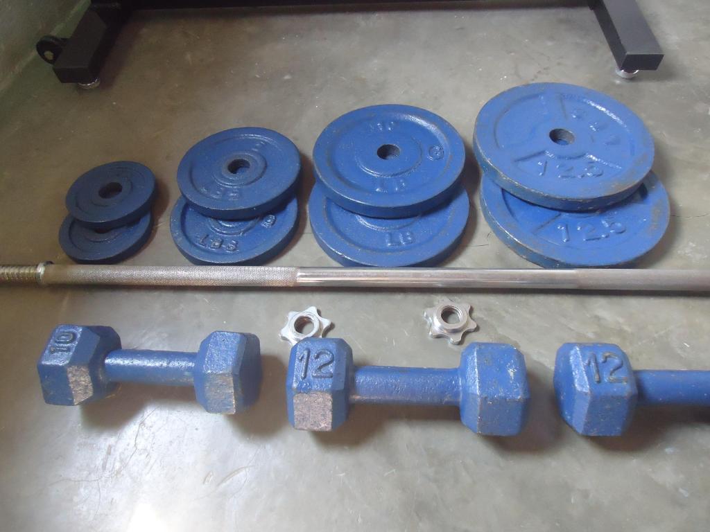 Kit de pesas 60 lb en discos mancuernas de 10 y 12 lb
