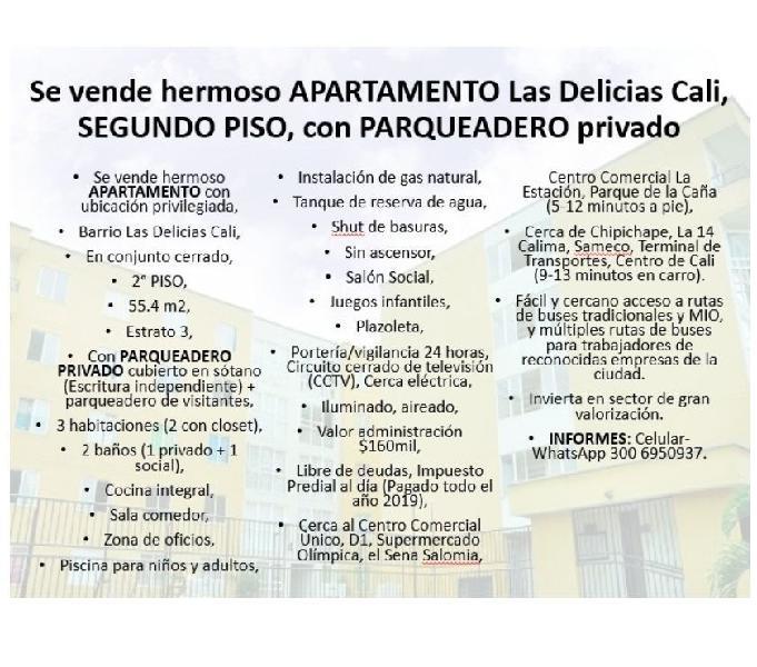 Se vende hermoso APARTAMENTO Las Delicias Cali, SEGUNDO PISO