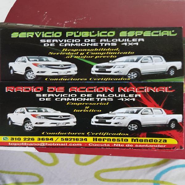 Alquiler de Camionetas Servicio Especial
