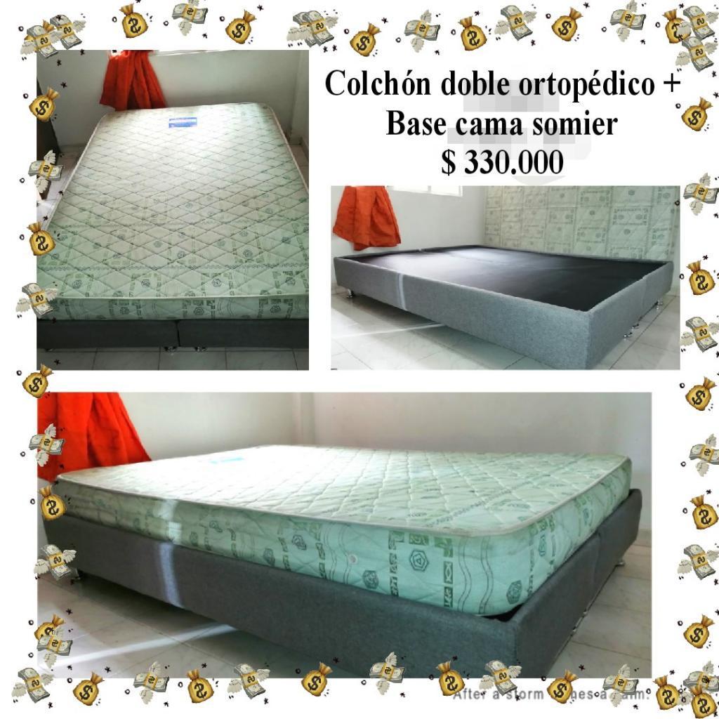 Cama Doble Somier Y Colchón 1.40 X 1.90