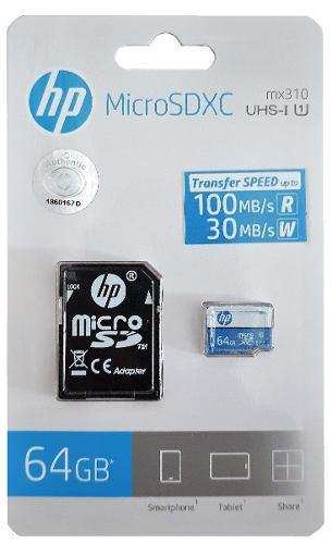 Memoria Micro Sd 64 Gb Hp Clase 10 Uhs-i 100 Mb/s Genuina