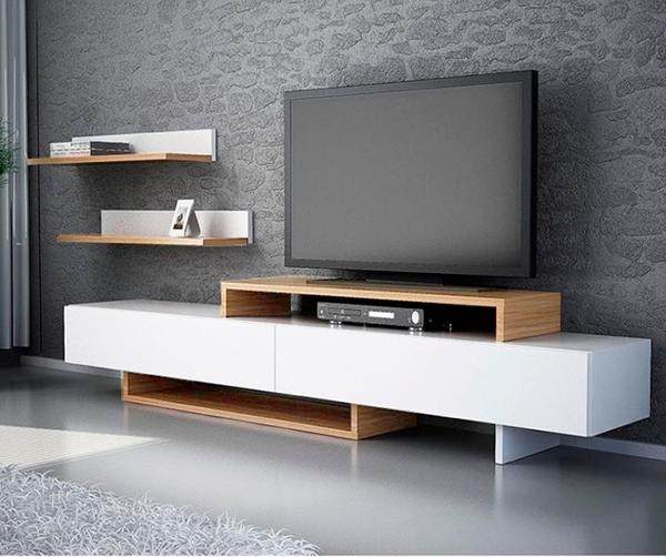Moderno mueble TV con repisas