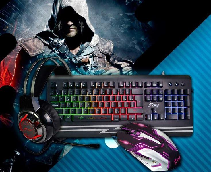 Combo Gamer Diadema, Mouse y teclado Gamer colores Led