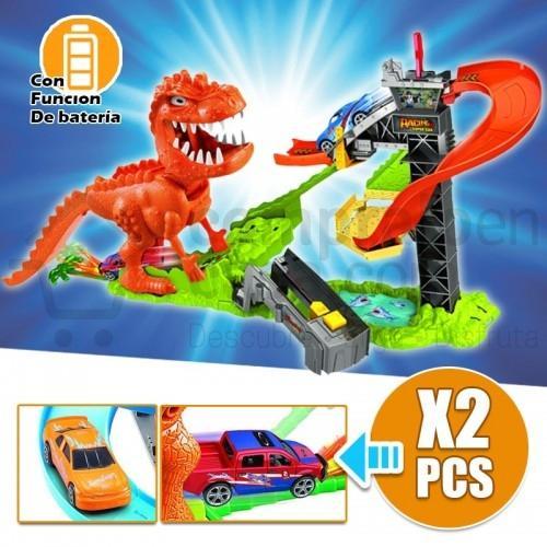 Pista de Dinosaurio Lanzador De Autos Con Sonido Carros RF