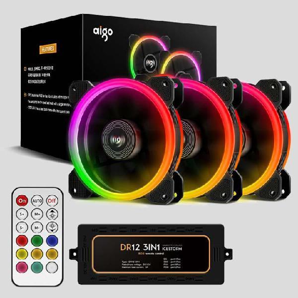 Ventiladores Fans Rgb Aigo Aurora Icestorm Dr12 3 En 1 Hub