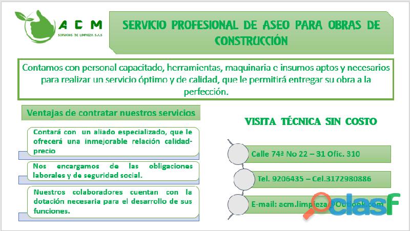 ASEO PARA OBRAS DE CONSTRUCCIÓN