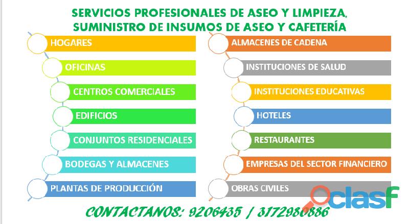SOLUCIONES DE ASEO Y LIMPIEZA POR HORAS DÍAS MES