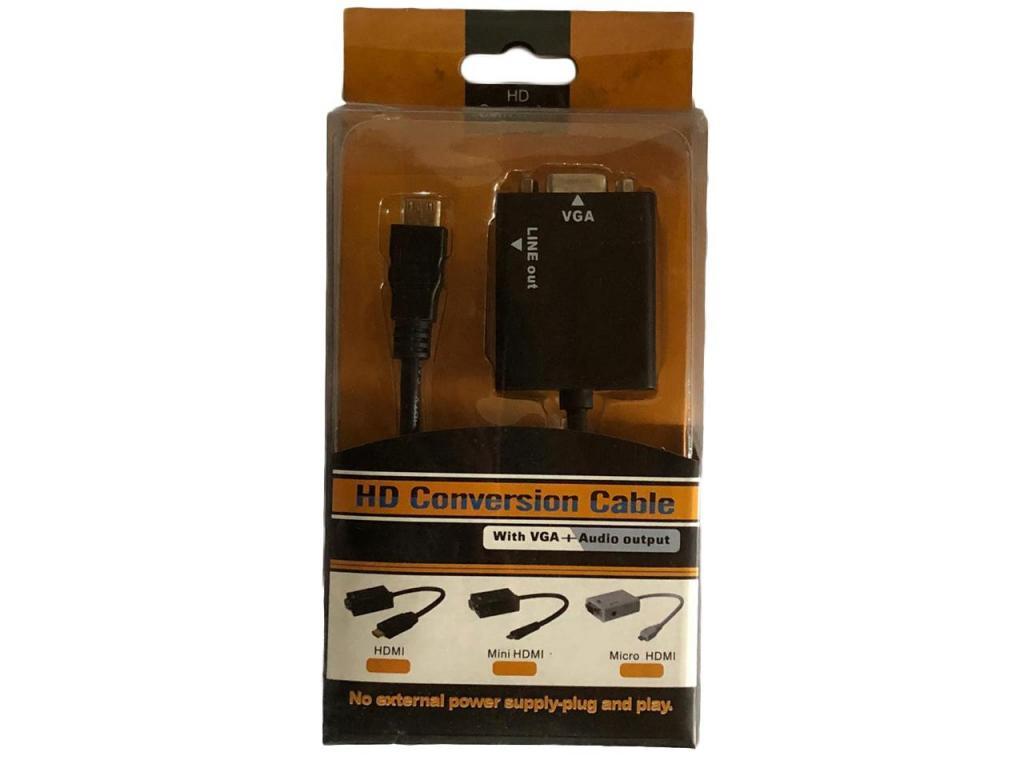 Adaptador VGA a Mini HDMI con Salida de Audio y Cable