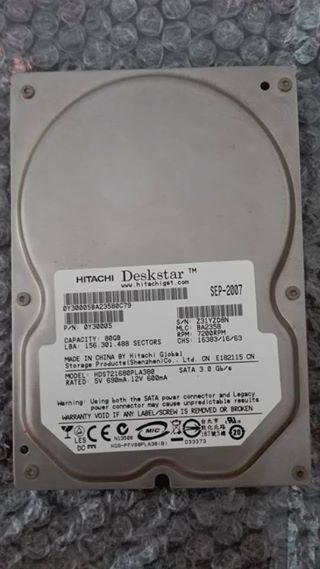 Disco Duro Sata Para Pc De Mesa Hitachi 80gb En Buen Estado