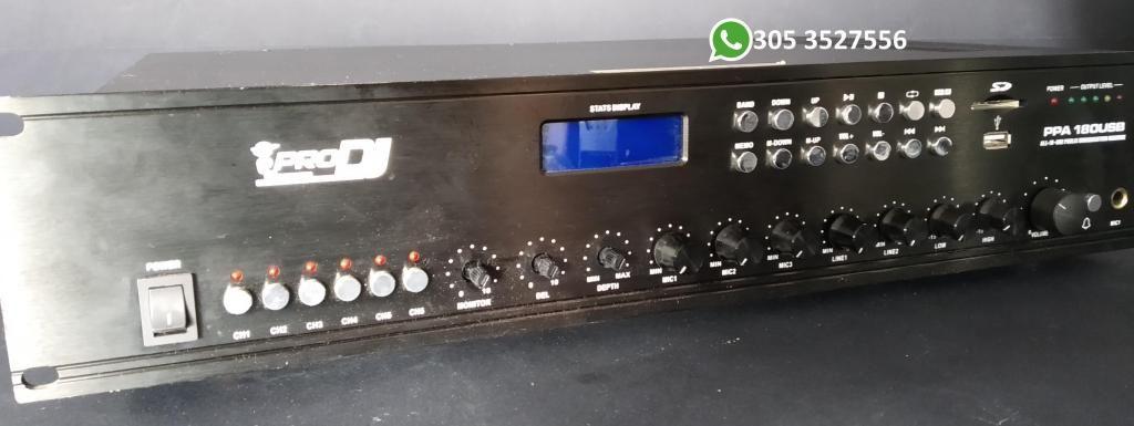 Amplificador de perifoneo Pro dj ppa180usb