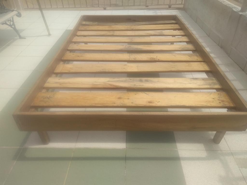 Base cama madera natural semi doble
