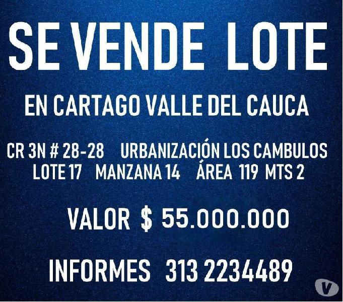 Se vende lote en Cartago Valle del Cauca