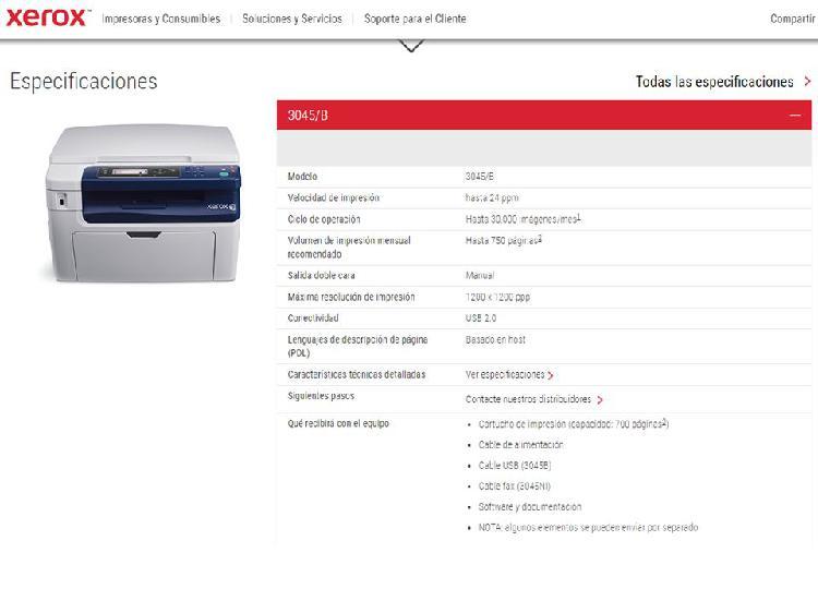 Impresora multifuncional Xerox 3045