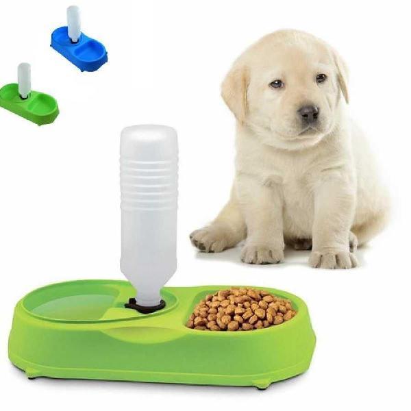Plato Comedero Perro Mascota Dispensador Agua 2en1 Colores