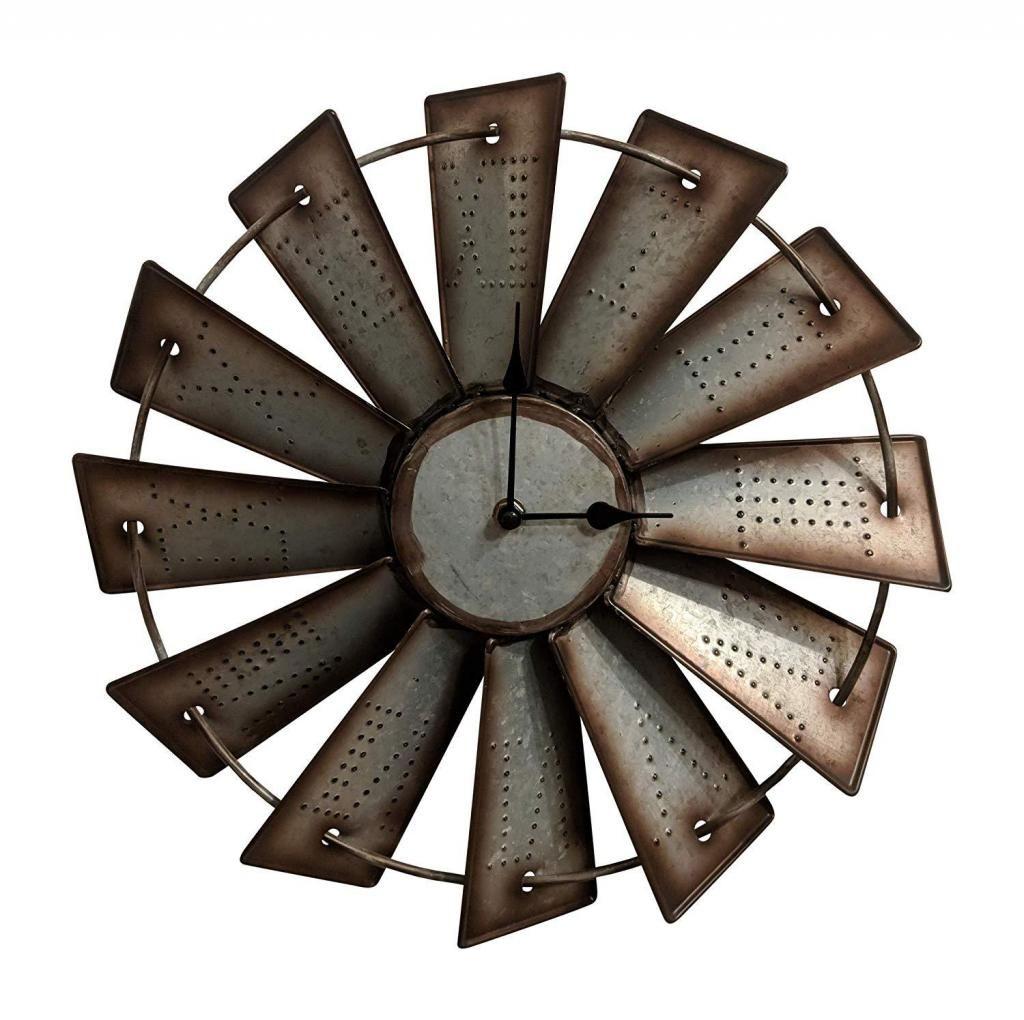Reloj Pared Decoración Rústico Metal Molino