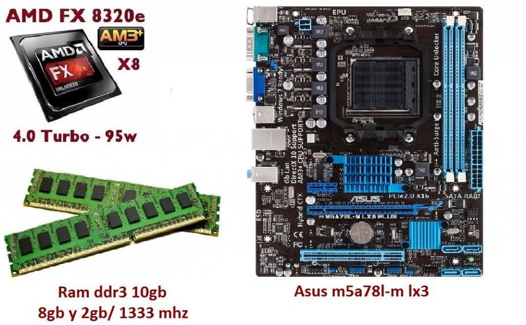Combo Board Asus, Amd Fx e, Ram Ddr3 10gb / Mhz