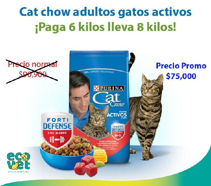 Promoción cat chow gatos adultos activos pague 6 lleve 8