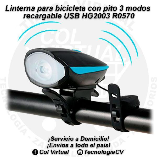 Linterna para bicicleta con pito 3 modos recargable USB