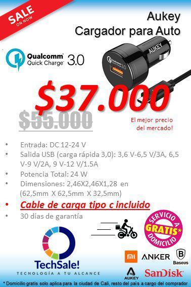 Cargador De Coche Aukey Carga Rapida Quick Charge 3.0