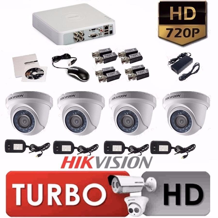 KIT HIKVISION DE 4 CAMARAS DE SEGURIDAD HD 720 VISION