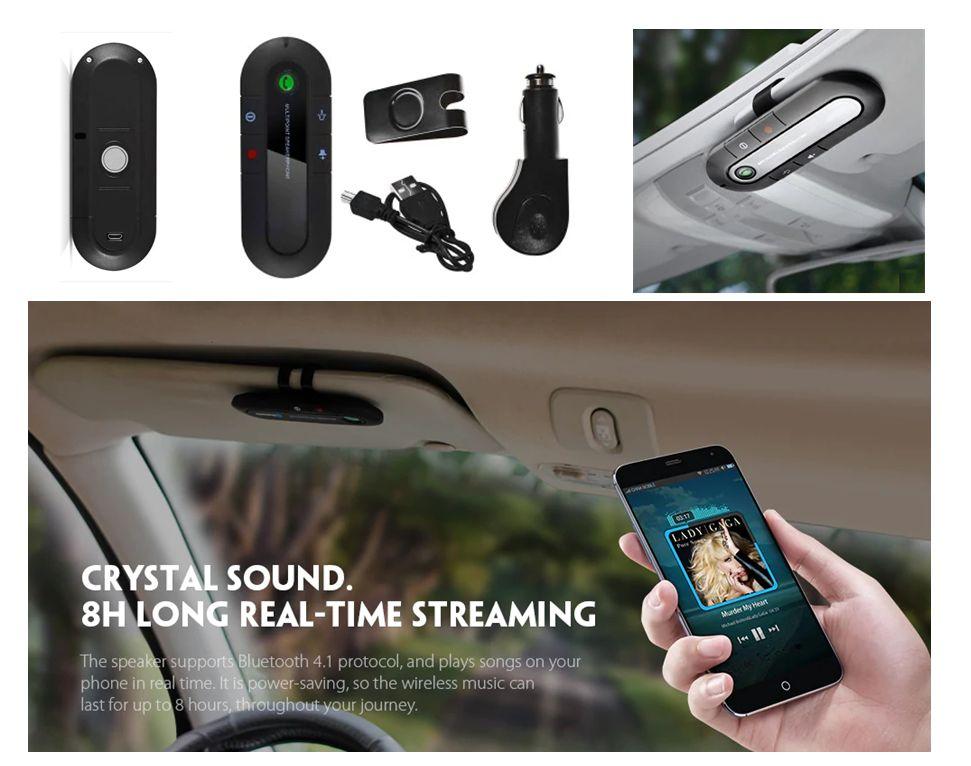 Transmisor Altavoz Bluetooth Carro Micrófono soporte visera