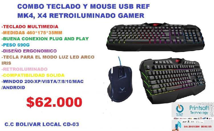 COMBO TECLADO Y MOUSE GAMER RETROILUMINADO EN OFERTA