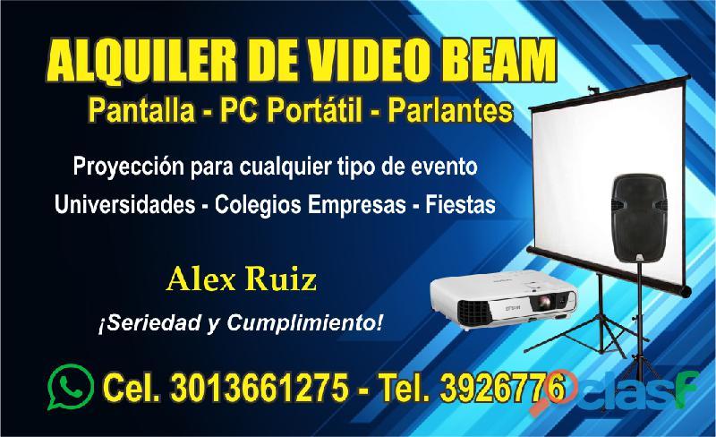 ALQUILER DE VIDEO BEAM, TELÓN Y SONIDO