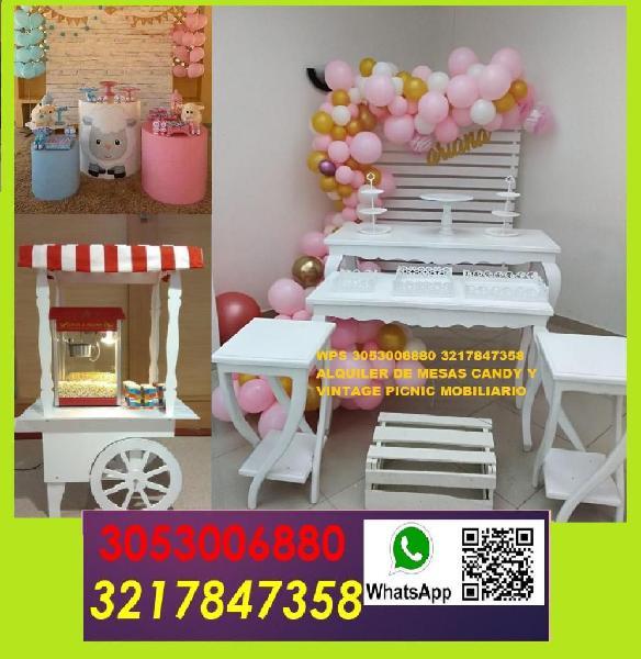 alquiler de carrito candy mesas vintage mesas cilindricas en