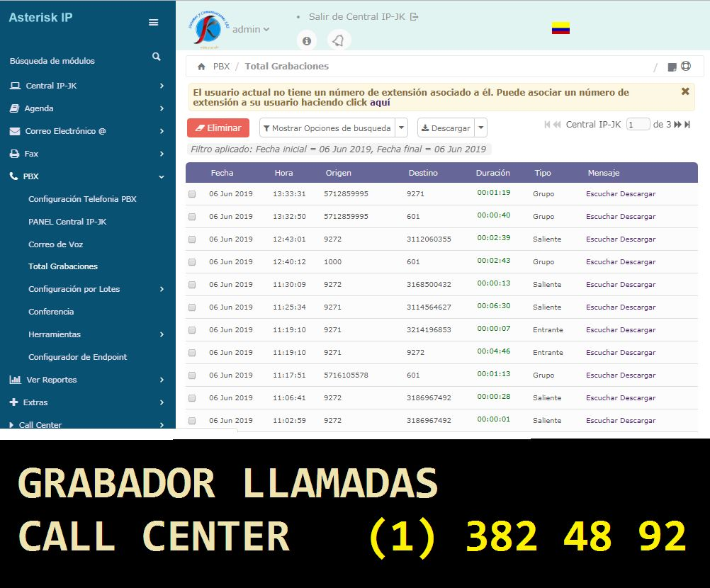 GRABADOR CALL CENTER Gratis VOIP Asterisk VOIP
