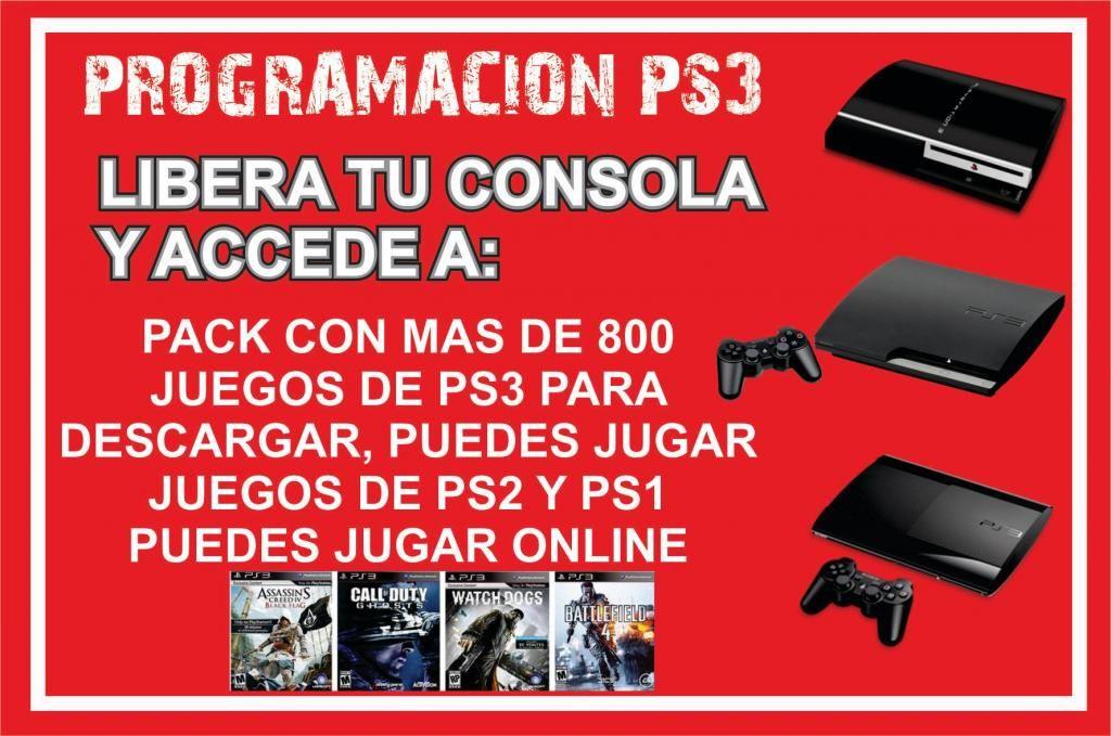 Programacion PS3 mas pack de 800 juegos para descargar,