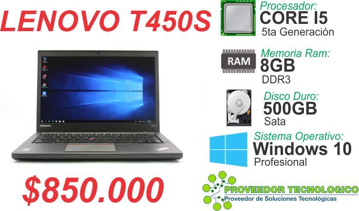 PORTATIL LENOVO T450S CORE I5 5TA GENERACION DISCO 500GB RAM
