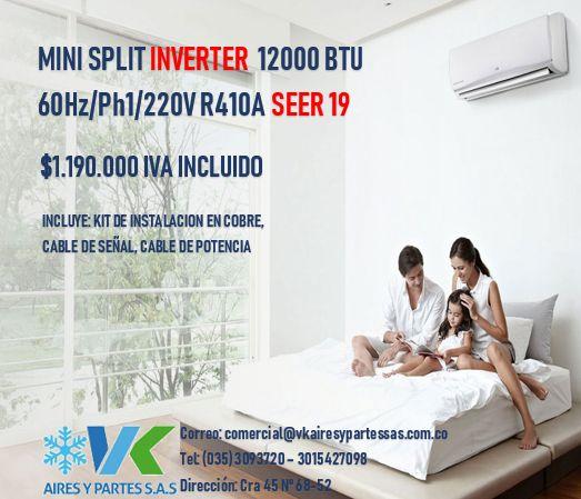 MINISPLIT MIRAGE INVERTER BTU 220V/1/60HZ R410A SEER 19